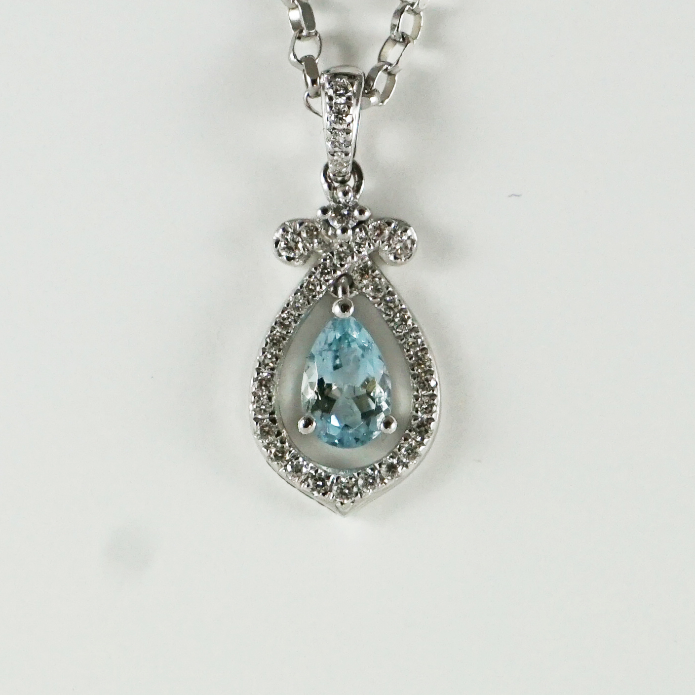 8edcda787 Pear Cut Aquamarine & Diamond Pendant, 18ct White Gold - Baxter & Hanks