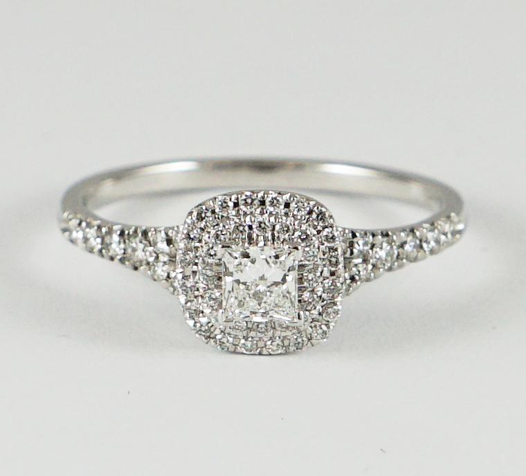 37e2542d3 Certified Modern Princess Cut Diamond Halo Ring, 18ct White Gold Mount