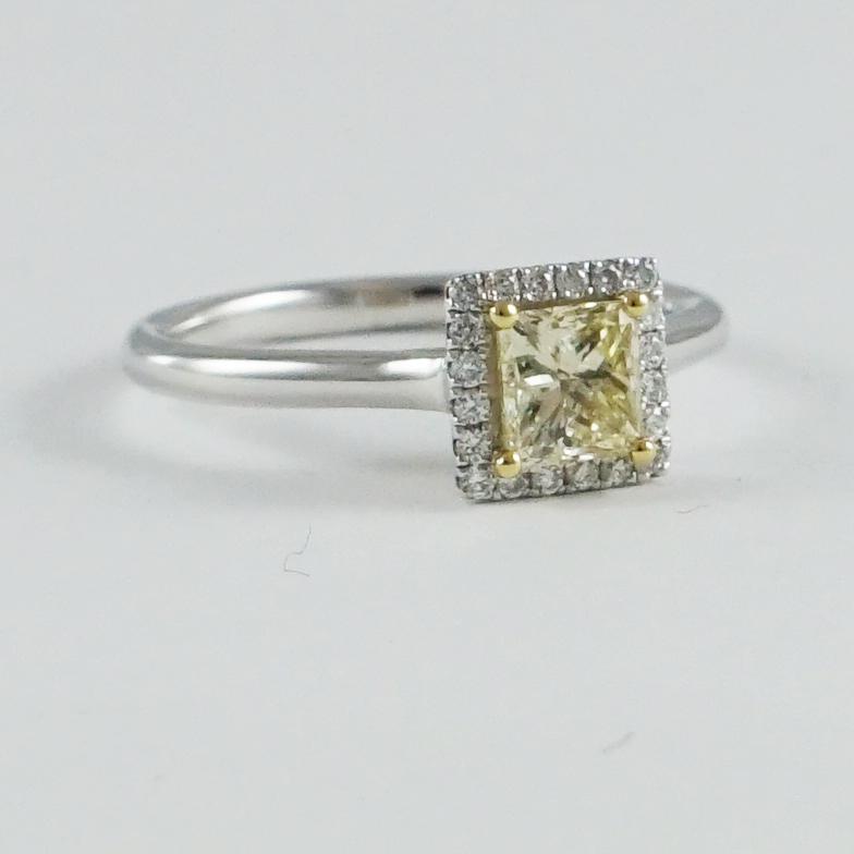 5ccc7d5bd45cc Natural Yellow Princess Cut Diamond Halo Ring, 18ct White Gold Mount