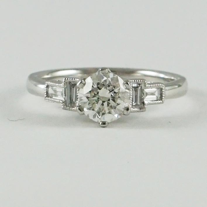 Art Deco Style Certified Diamond Ring Platinum Mount Baxter Hanks